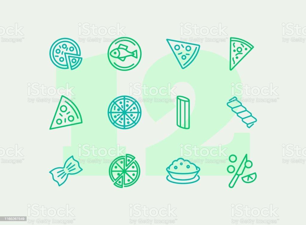 Ensemble italien d'icône de ligne de cuisine - clipart vectoriel de Aliment libre de droits