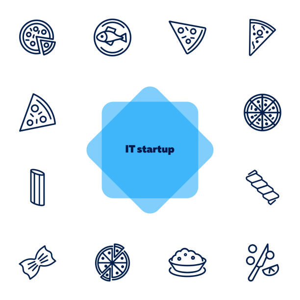 illustrations, cliparts, dessins animés et icônes de ensemble italien d'icône de ligne de cuisine - risotto