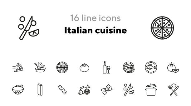 Italian cuisine line icon set Italian cuisine line icon set. Wine, pizza, salmon. Food concept. Can be used for topics like healthy diet, restaurant menu, dinner, cooking penne stock illustrations