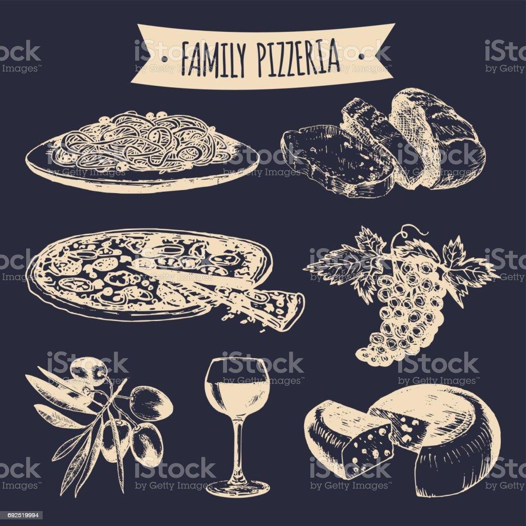Italienische Küche Menü Hand Gezeichnet Traditionellen Südlichen ...