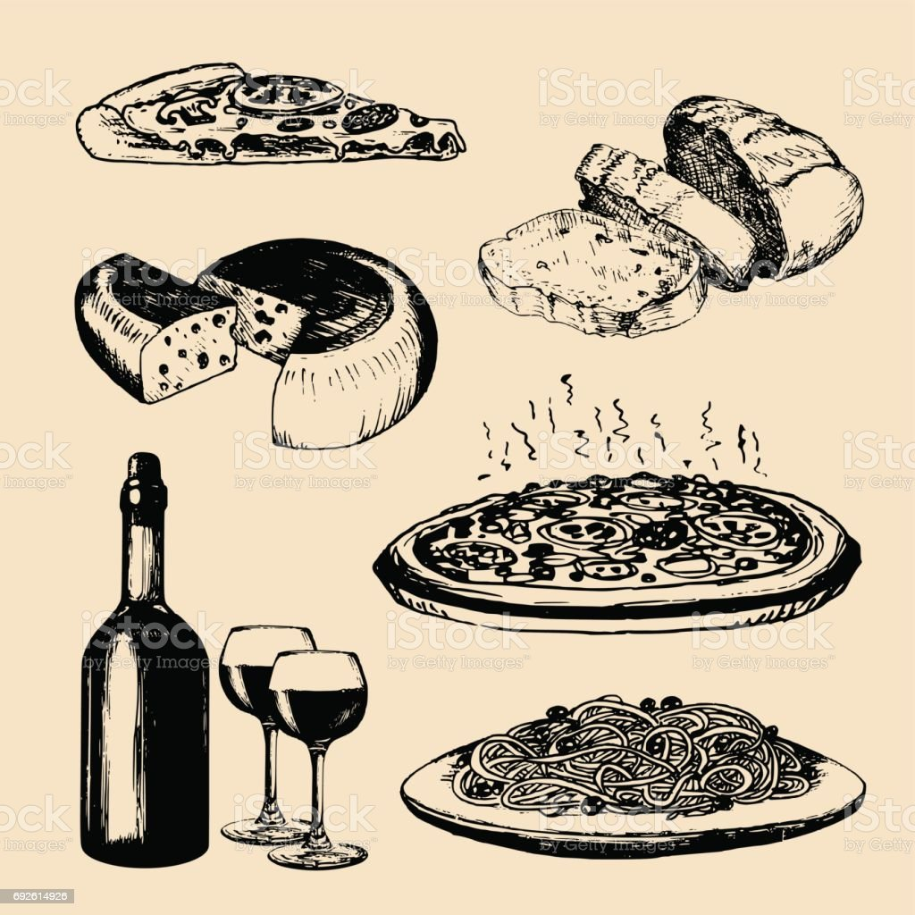 イタリア料理のメニュー。手は、伝統的な南ヨーロッパ食品標識をスケッチしました。地中海料理を楽しむ要素のベクトルを設定します。 ベクターアートイラスト