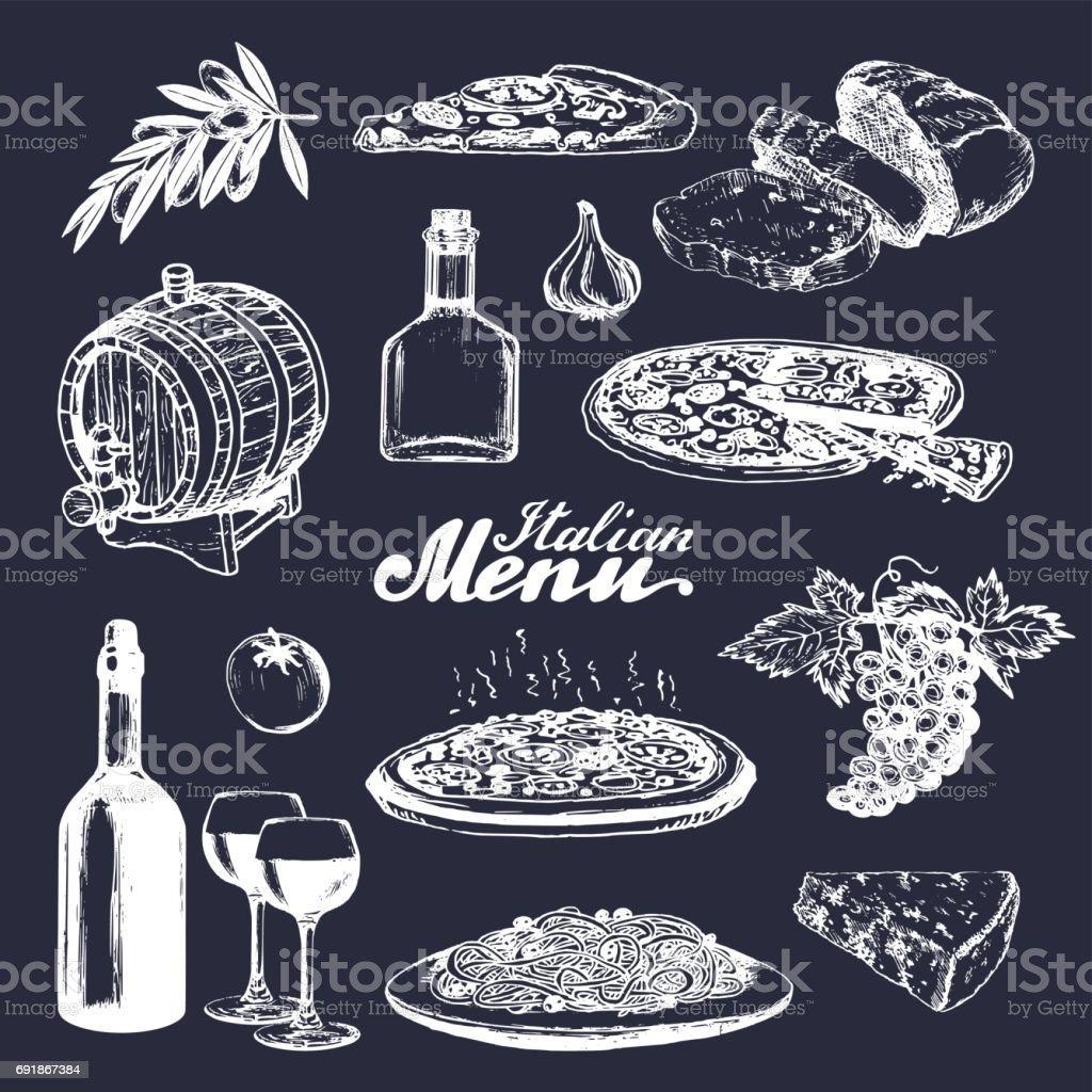 イタリア料理のメニュー。伝統的な南ヨーロッパ飲食看板をスケッチしました。地中海料理を楽しむ要素のベクトルを設定 ベクターアートイラスト