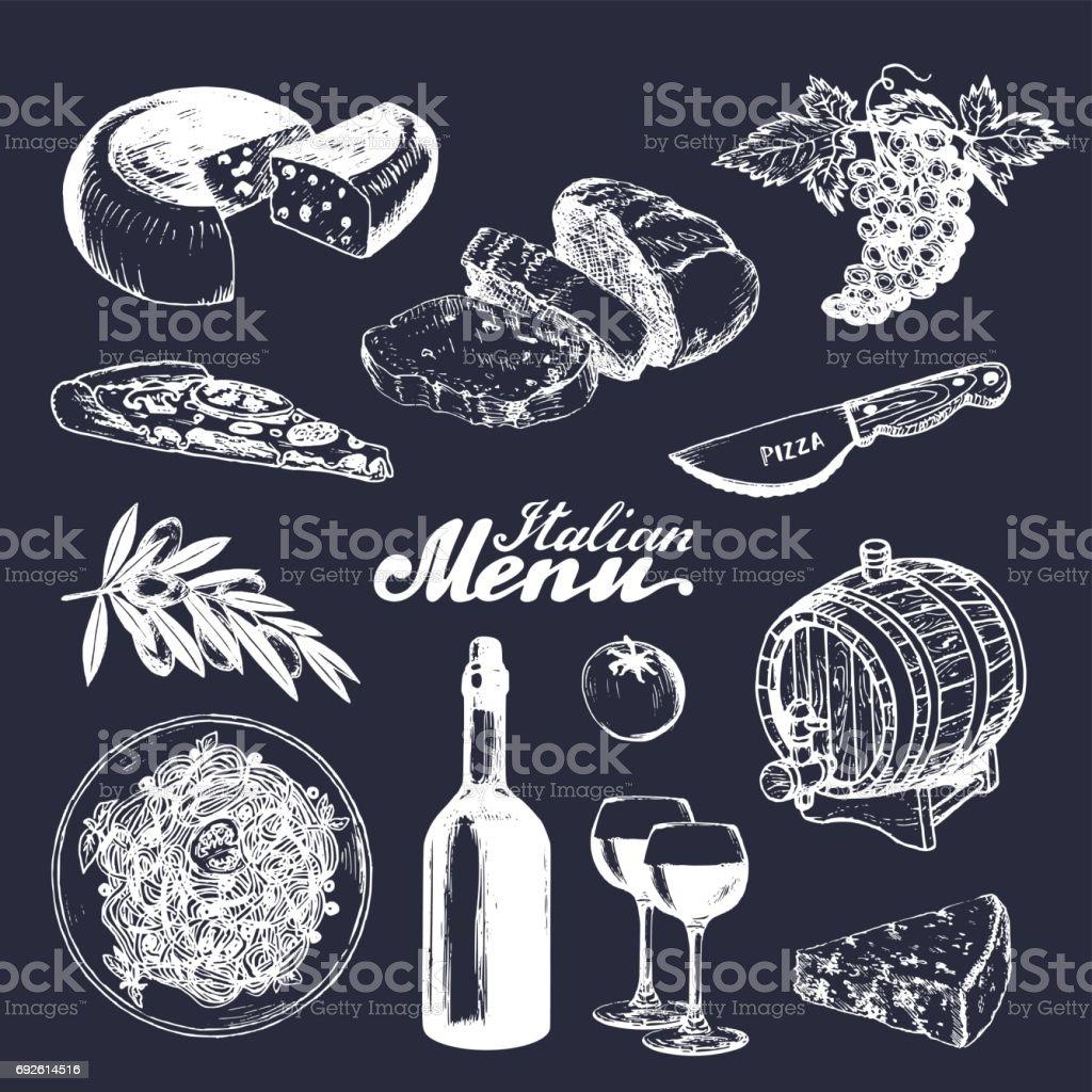 Italienische Küche Menü Traditionellen Südlichen Europa Essen Und ...