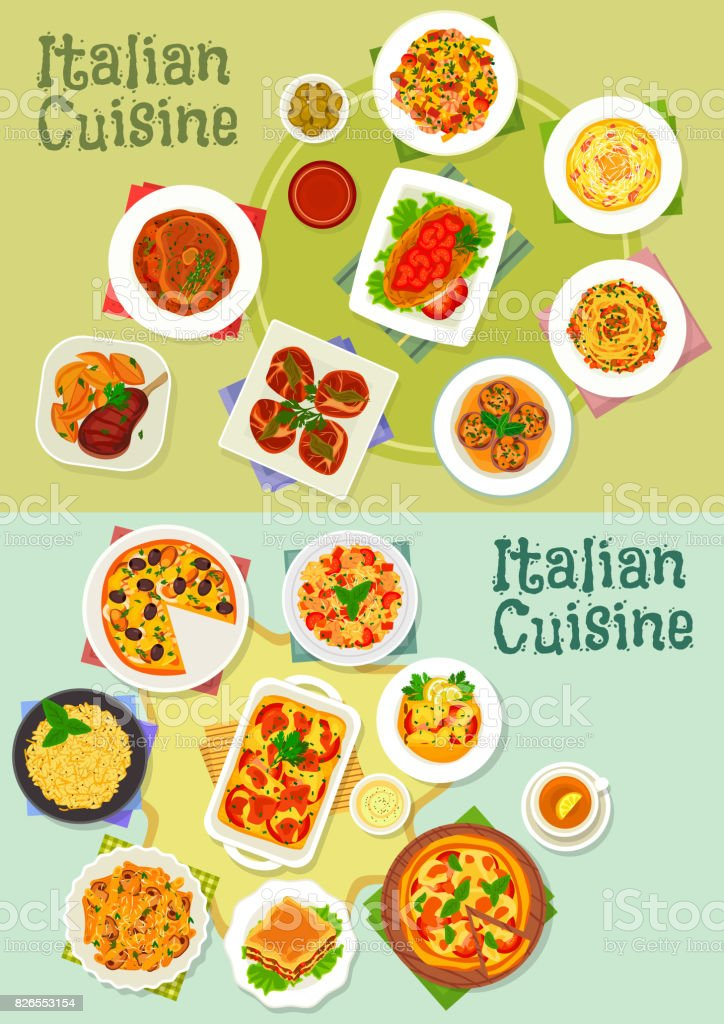 Italian cuisine pasta and pizza dishes icon vector art illustration