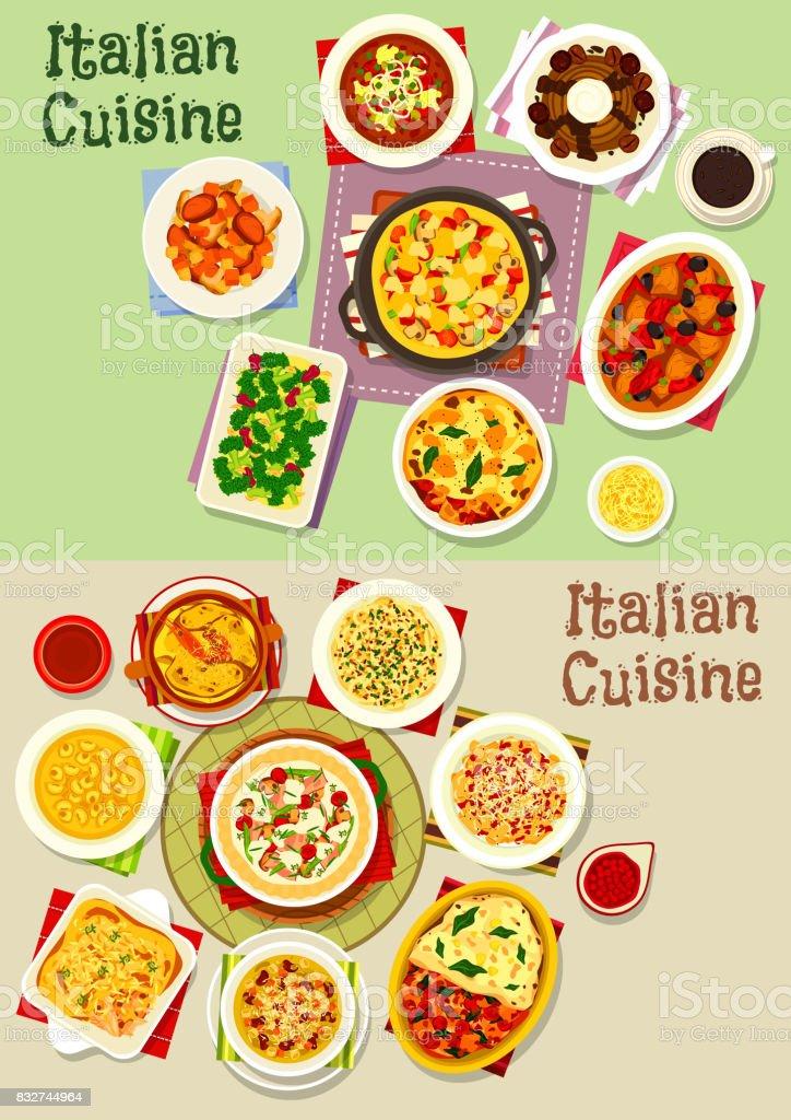 bae1862aabf Ilustração de Pratos De Massas Da Cozinha Italiana ícone Comida ...