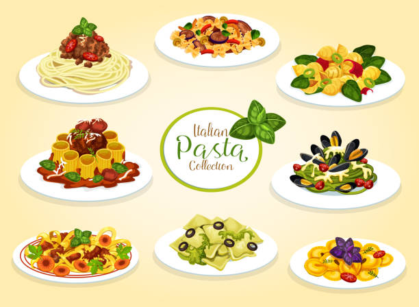 Italian cuisine pasta dishes, vector Italian pasta dishes with meat, seafood, cheese and vegetables. Vector spaghetti, macaroni and penne with tomato bolognese sauce, meatballs and pesto, lasagna, alfredo and pasta carbonara bow tie pasta stock illustrations
