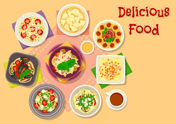 italienische küche, pasta, spaghetti und risotto symbol - risotto stock-grafiken, -clipart, -cartoons und -symbole