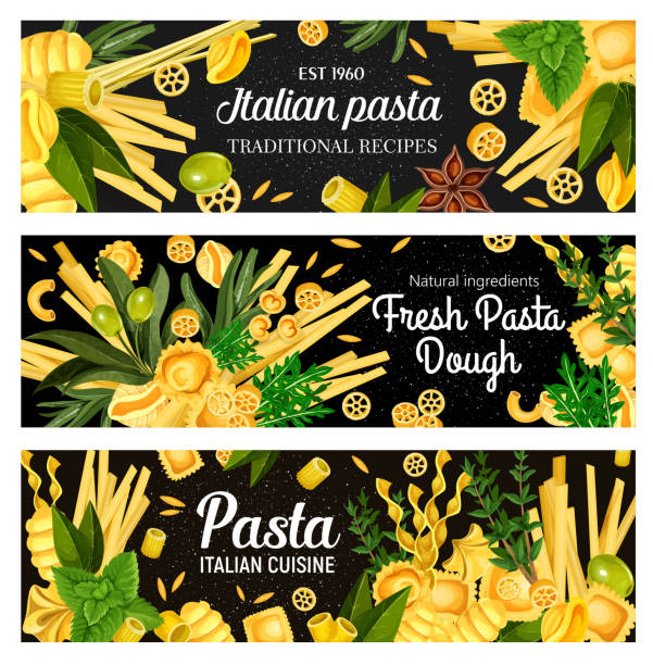 Italian cuisine pasta with seasonings Italian pasta, vector on black. Spaghetti and ravioli, chifferi and alluovo, orzo and tortelloni, maccheroni and rotelle, gnocchi and fagottini, conchiglie. Rosemary and anise, olive and basil rotelle stock illustrations