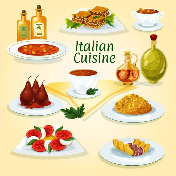illustrations, cliparts, dessins animés et icônes de italian cuisine popular dishes icon - risotto