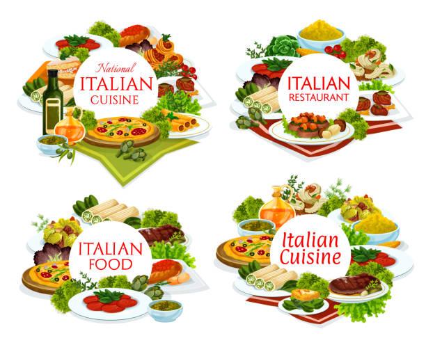 bildbanksillustrationer, clip art samt tecknat material och ikoner med italienska köket restaurang rätter runda banners - tagliatelle mushroom