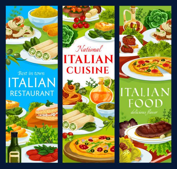 bildbanksillustrationer, clip art samt tecknat material och ikoner med italienska köket restaurang måltider vektor banners - tagliatelle mushroom