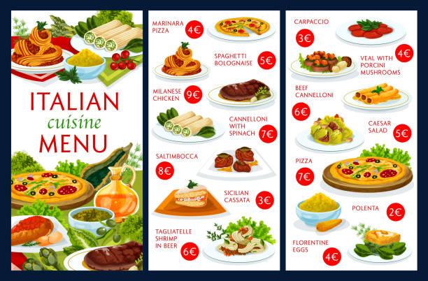 bildbanksillustrationer, clip art samt tecknat material och ikoner med italienska köket restaurang meny vektor mall - tagliatelle mushroom