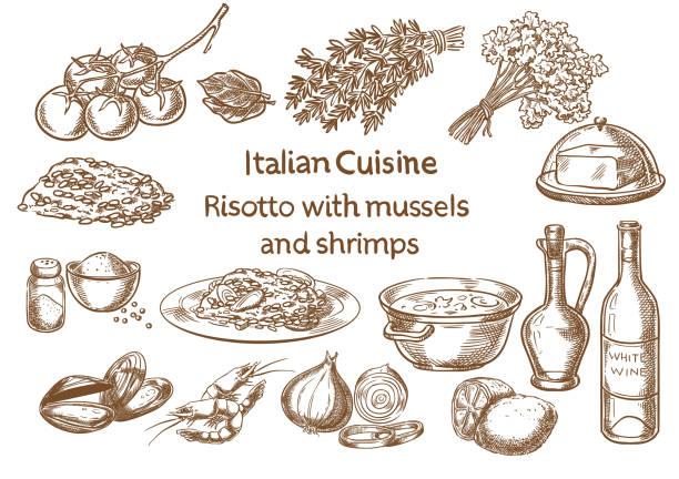 italienische küche. risotto mit muscheln und garnelen zutaten vektor skizze. - risotto stock-grafiken, -clipart, -cartoons und -symbole