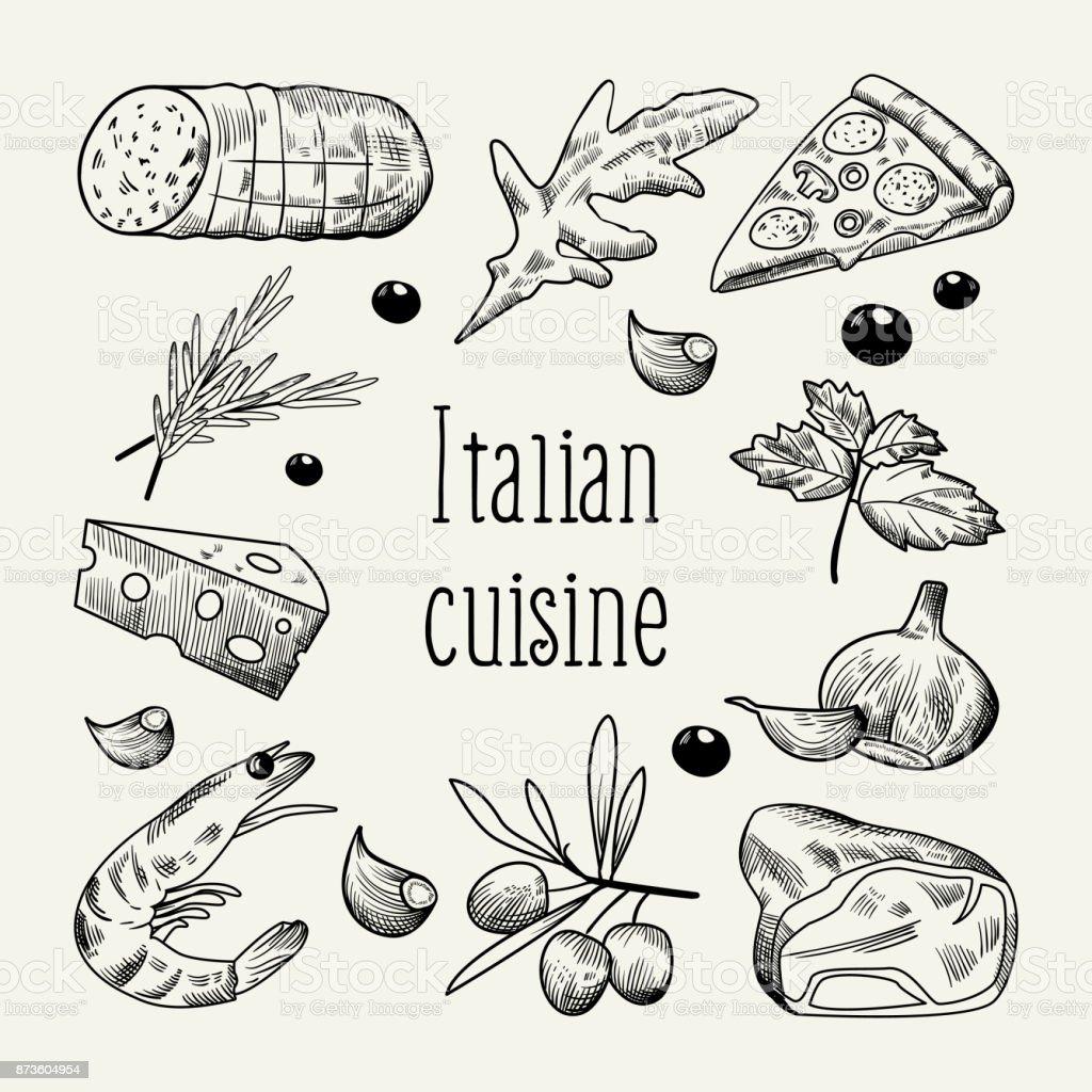Ilustración de Cocina Italiana Dibujo Doodle Plantilla De Diseño De ...