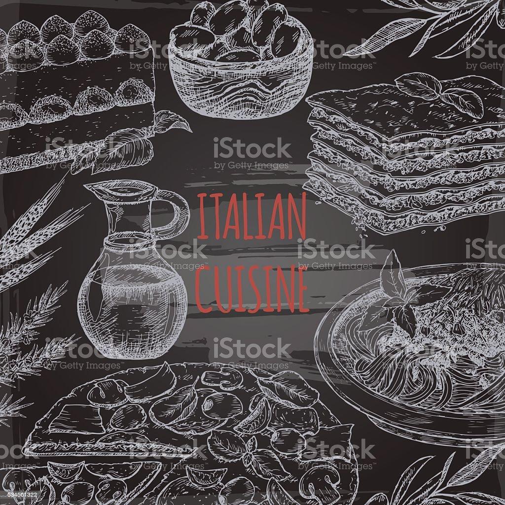 Italian cuisine template on blackboard bavkground. vector art illustration