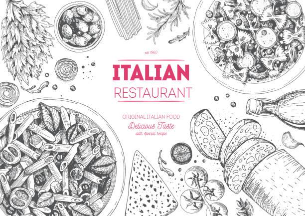 Italian cuisine top view frame. Italian cuisine top view frame. Italian food menu design. Vintage hand drawn sketch vector illustration. penne stock illustrations