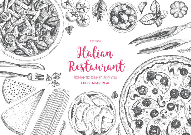 Italian cuisine top view frame. vector art illustration