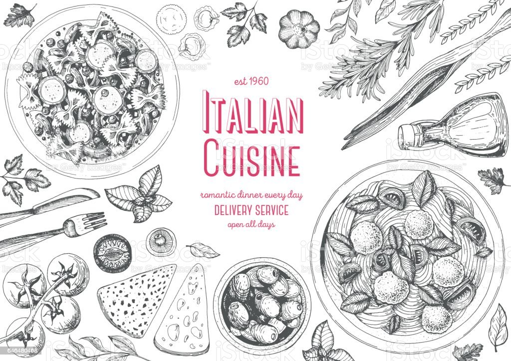 Italian cuisine top view frame. royalty-free italian cuisine top view frame stock illustration - download image now