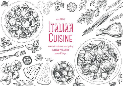 Italian cuisine top view frame.