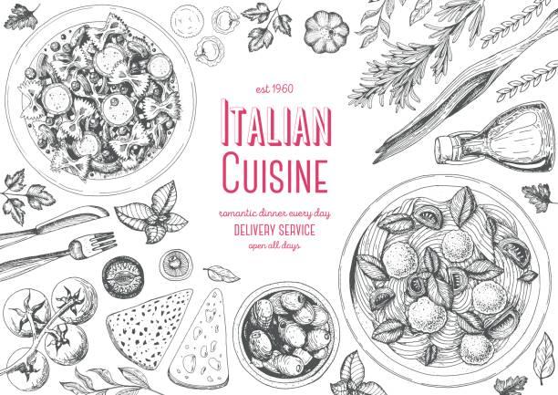 ilustrações, clipart, desenhos animados e ícones de quadro de vista superior de cozinha italiana. - comida italiana