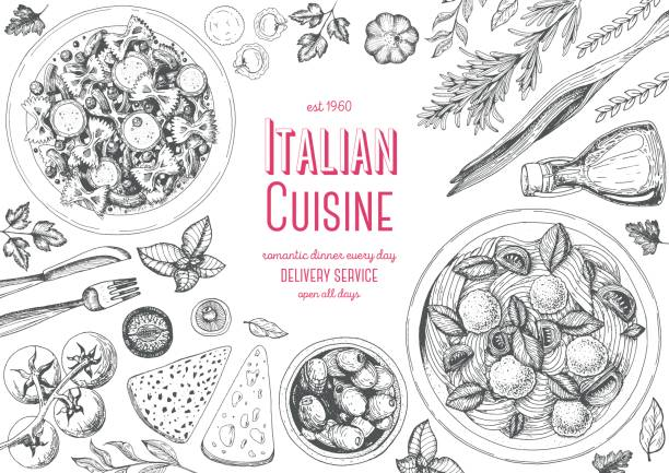 illustrazioni stock, clip art, cartoni animati e icone di tendenza di italian cuisine top view frame. - pasta
