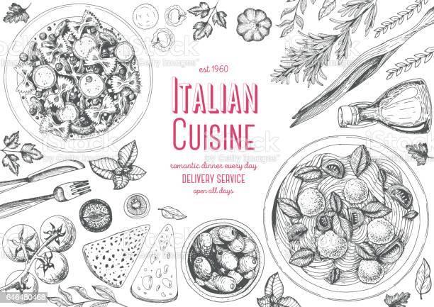 Italian Cuisine Top View Frame - Immagini vettoriali stock e altre immagini di Aglio - Alliacee