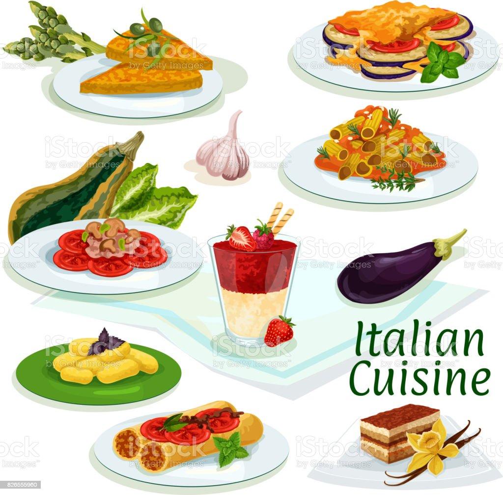 Italian cuisine traditional food cartoon icon vector art illustration