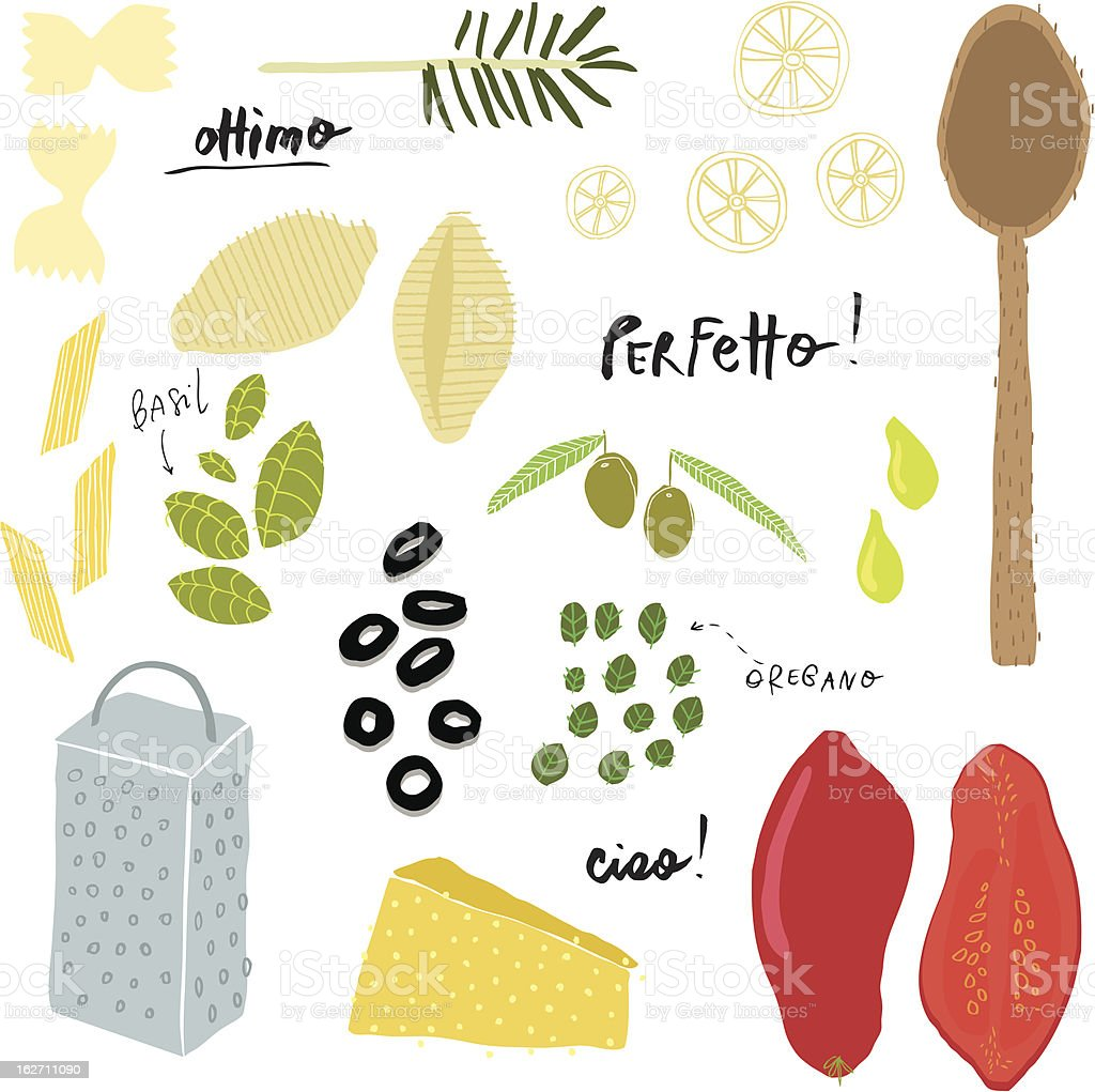 Italian cuisine vector art illustration