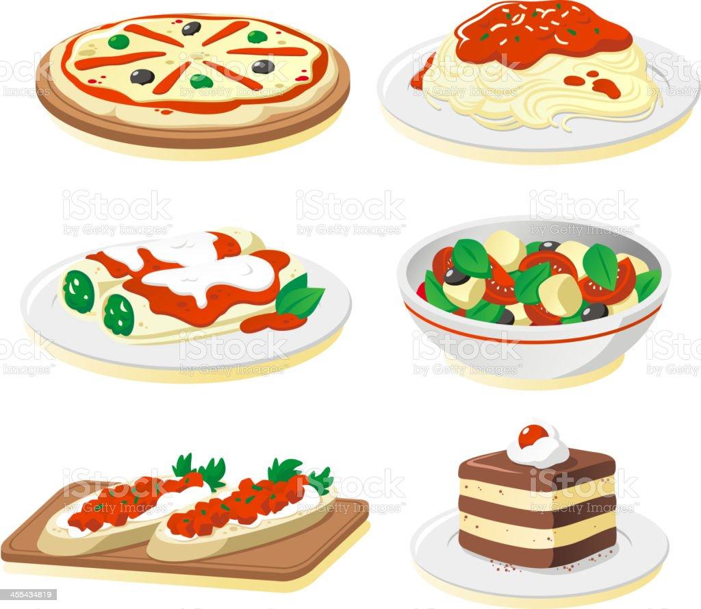 Italian cuisine vector art illustration