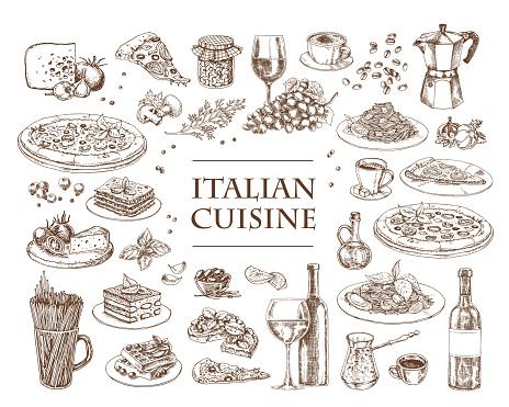 Italian Cuisine vector illustration. Set of traditional italian dishes.