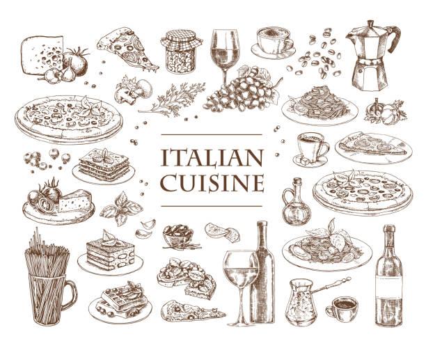 ilustrações, clipart, desenhos animados e ícones de ilustração italiana do vetor da culinária. conjunto de pratos italianos tradicionais. - comida italiana