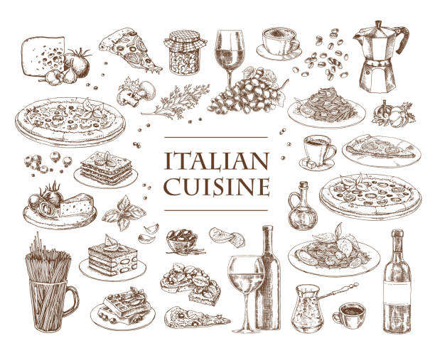 Italian Cuisine vector illustration. Set of traditional italian dishes. Italian Cuisine vector illustration. Set of traditional italian dishes. Food menu design template. Vintage hand drawn sketch. Engraved image penne stock illustrations