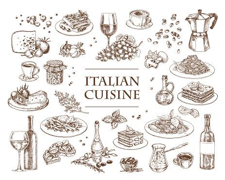 Italian Cuisine vector illustration. Set of traditional italian dishes