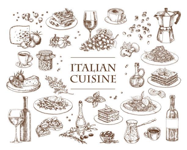 ilustrações, clipart, desenhos animados e ícones de ilustração italiana do vetor da culinária. jogo de pratos italianos tradicionais - comida italiana