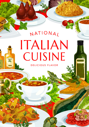 Italian cuisine vector poster, restaurant of Italy