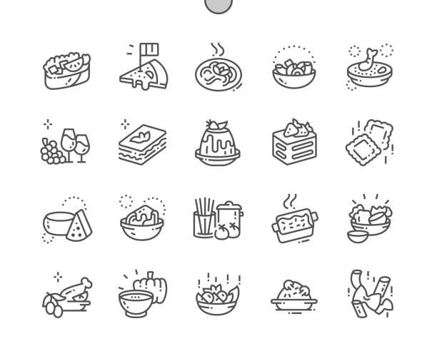 illustrations, cliparts, dessins animés et icônes de cuisine italienne bien conçu pixel perfect vector thin line icons 30 2x grille pour les graphiques web et les applications. pictogramme minimal simple - risotto