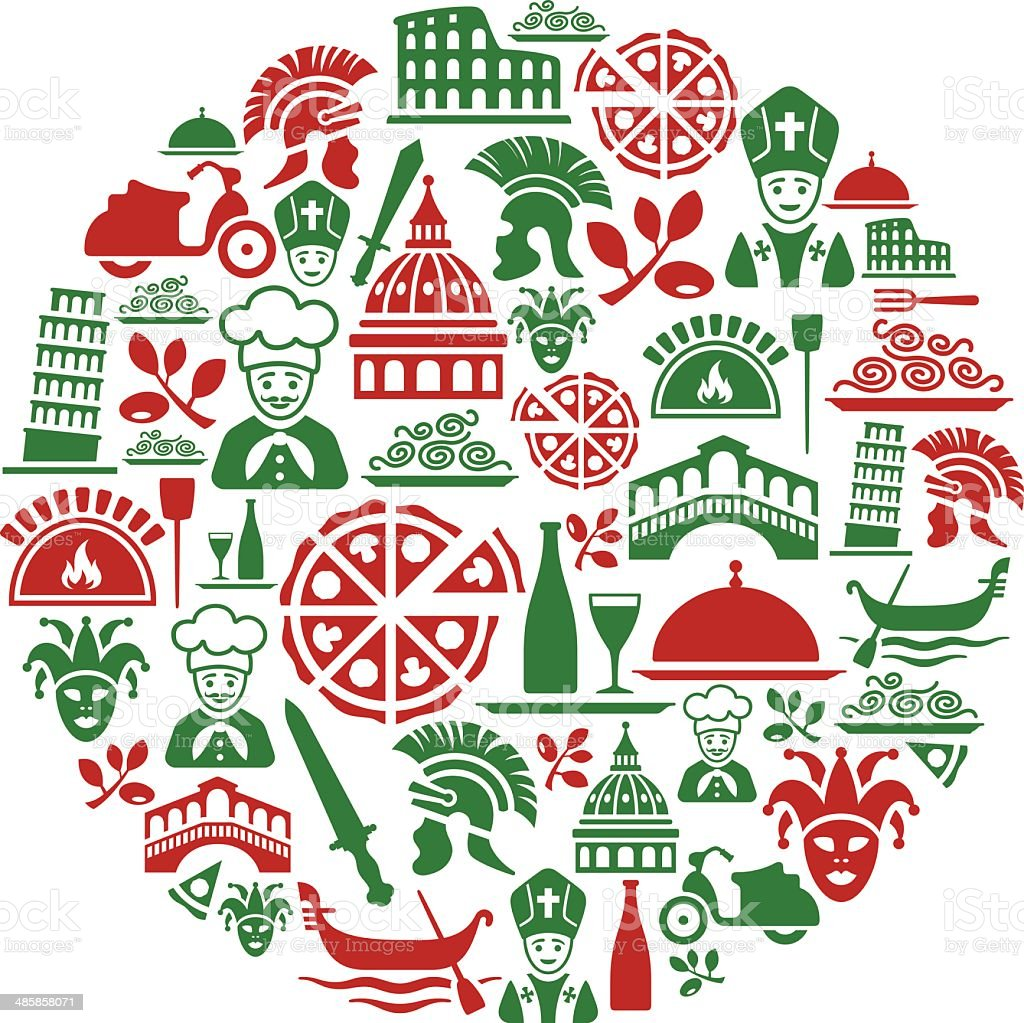 Italian Culture Collage royalty-free stock vector art
