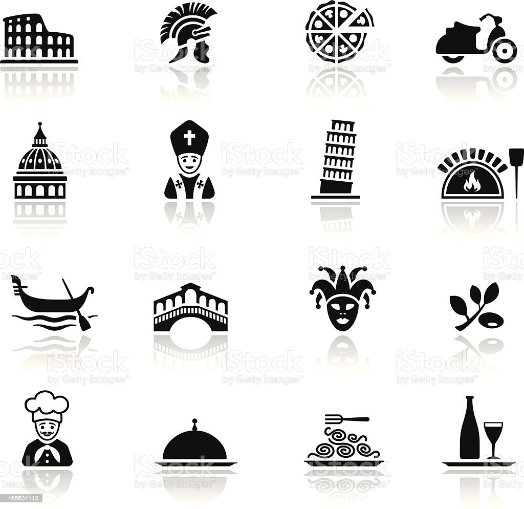 Italian Culture Icon Set vector art illustration