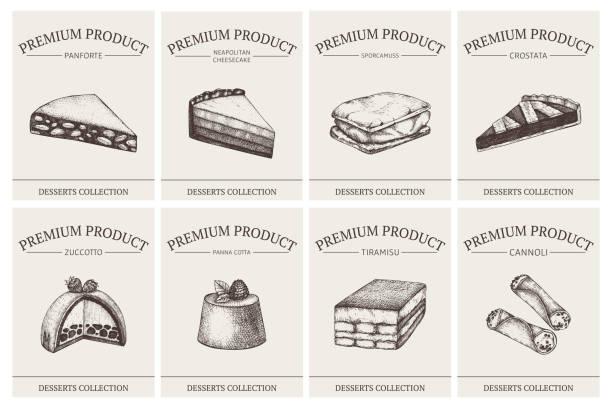 liste der italienischen desserts - tiramisu stock-grafiken, -clipart, -cartoons und -symbole
