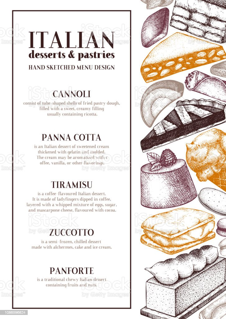 Italian Desserts Menu Design Stock Illustration - Download Image Now