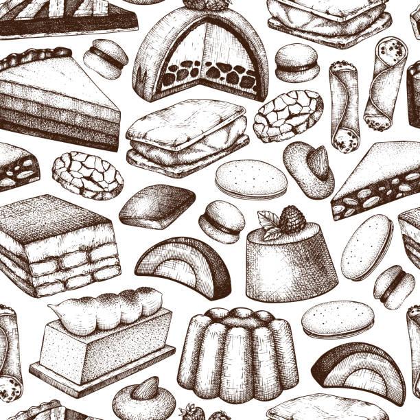 italienische desserts nahtlose muster - vanillesauce stock-grafiken, -clipart, -cartoons und -symbole