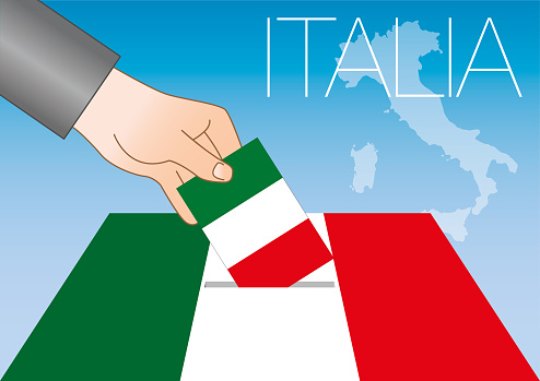Italian elections illustration, ballot box with hand, flags and map, vector