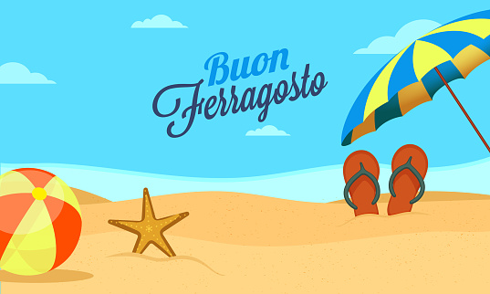 Italian festival Buon (happy in italian language) Ferragosto text on blue sky, beach background with umbrella, volleyball and starfish. Summer holidays in Italy concept.
