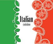 Italian flag and cuisine salad ingredients tomatoes for red color mint for green color