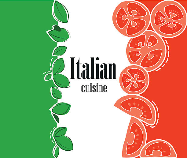 Italian flag and cuisine vector art illustration