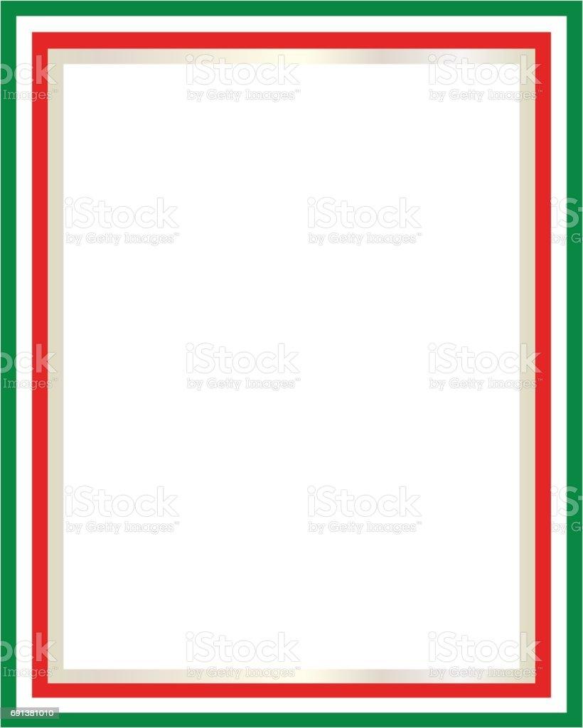 Italian flag border vector art illustration