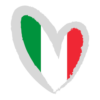 Italian flag. Flag of Italy in the form of heart.
