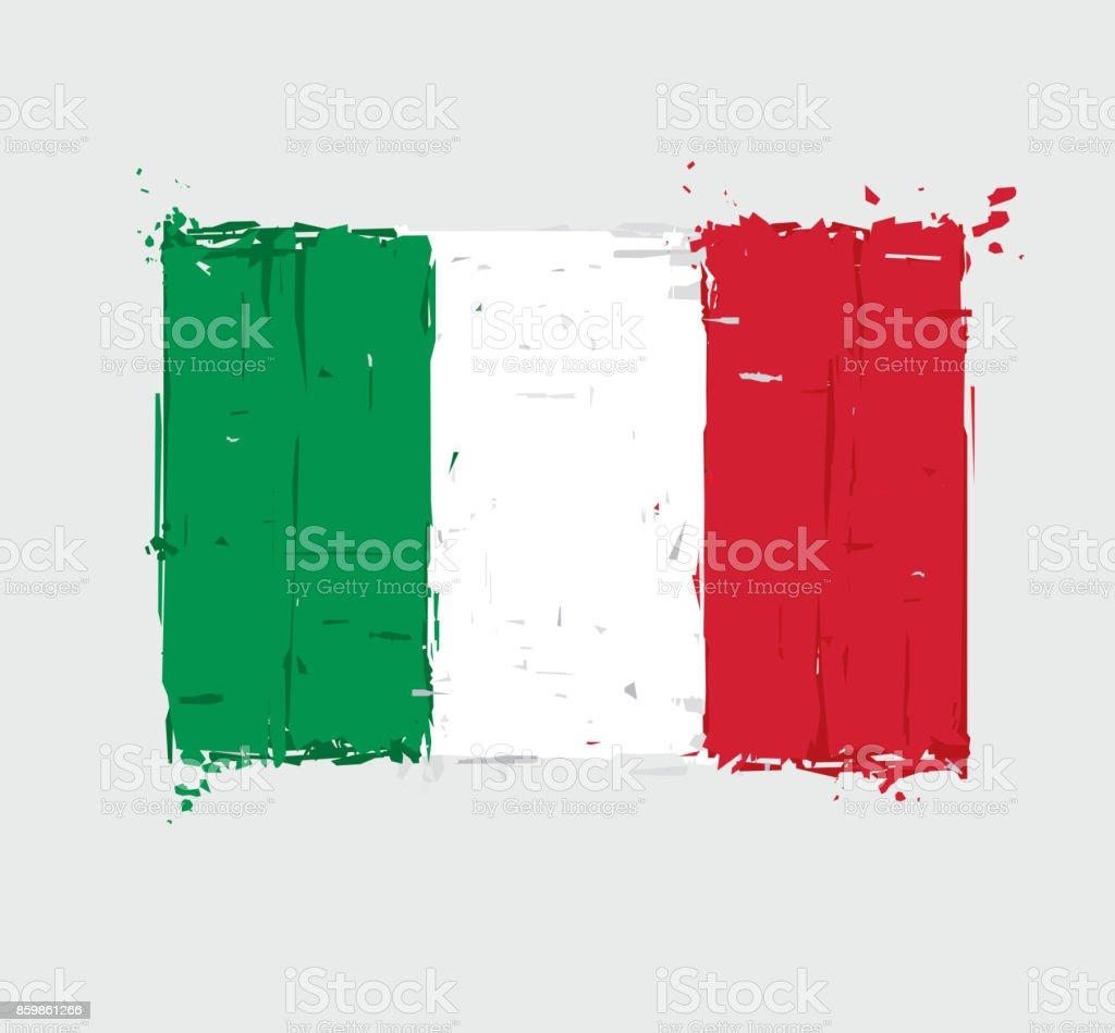 Italian Flag Flat - Artistic Brush Strokes and Splashes vector art illustration