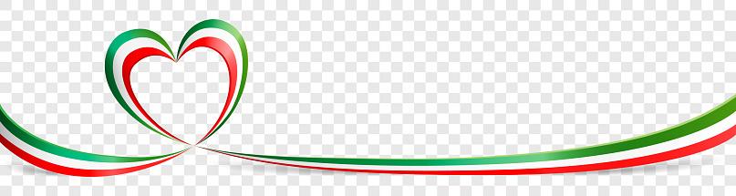 Italian flag heart shaped ribbon banner on transparent background