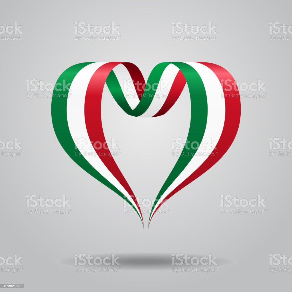 Italian flag heart-shaped ribbon. Vector illustration. vector art illustration